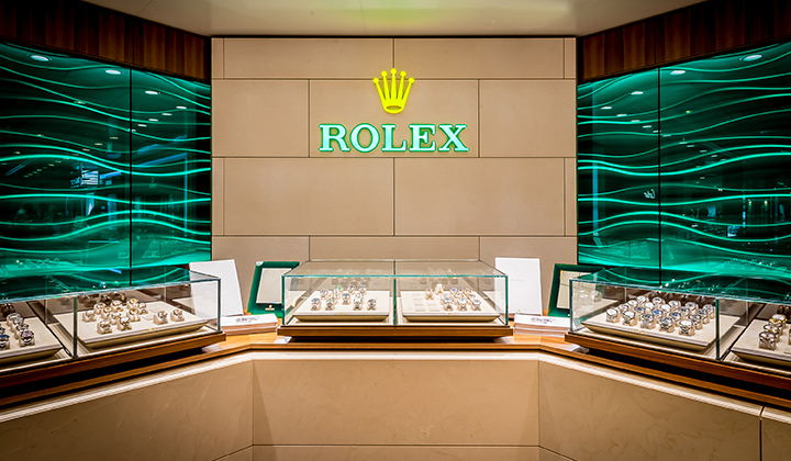 Rolex in locations in Cayman, Cardinall Avenue and the iconic Bayshore Mall