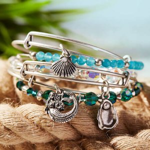 Turquoise crystal bangle bracelet by Alex & Ani Jewelry at Kirk Freeport in Grand Cayman