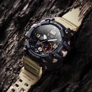 Black Casio G-Shock watch with beige wristband at Kirk Freeport in Grand Cayman