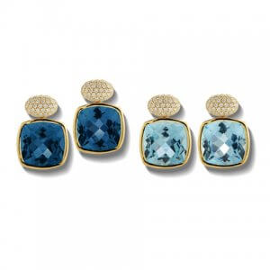 Blue topaz and sky blue topaz diamond gaia earrings from A & Furst Jewelry at Kirk Freeport in Grand Cayman