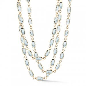 Blue topaz and yellow gold gaia necklace from A & Furst Jewelry at Kirk Freeport in Grand Cayman