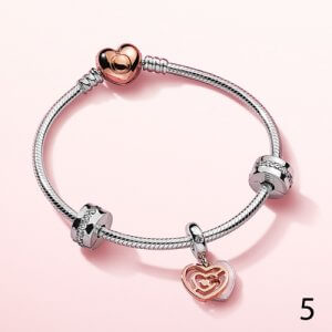 Pandora Bracelet with Hearts Valentine's Gift for Her